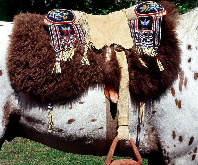 Polštářové sedlo a podsedlová deka (kus bizoní kožešiny). Jedná se o současnou repliku.