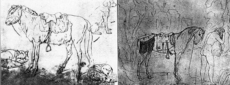 Skicy švýcarského malíře Rudolpha Kurze z období kolem roku 1850 vyobrazují dva případy použití polštářového sedla. V prvním případě je sedlo vypodloženo bizoní kožešinou, v druhém případě Hudsons Bay dekou. U obrázku napravo si všimněte připojeného zdobeného podocasníku.