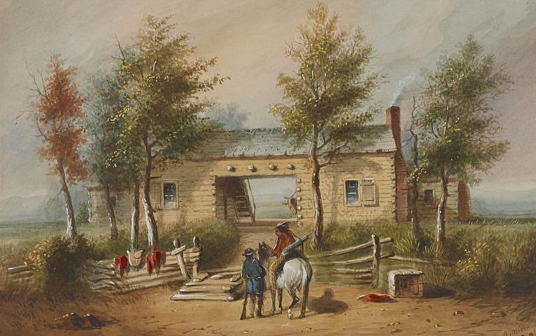 Obchodní stanice na dobové malbě A.J.Millera. Stanice Fort John se bohužel nedochovala, jelikož vyhořela a nebyla znovu postavena, ale mohla vypadat možná nějak takhle.