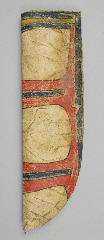 Pouzdro na nůž vyrobené ze surové kůže zdobené malbou.