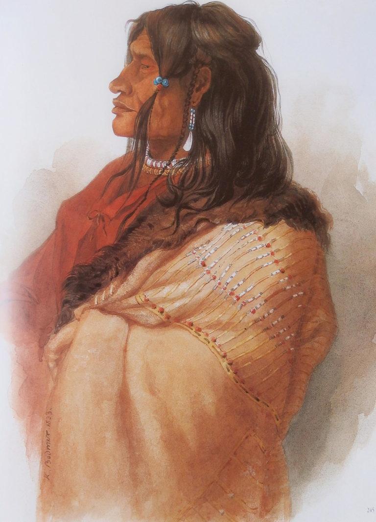 Indián z kmene Černonožců na obraze Karla Bodmera. Jeho plášť s ostnovými proužky je pravděpodobně výrobek Lakotů, který získal obchodem.