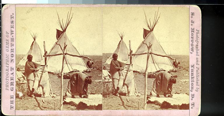 Šajenské ženy vydělávají bizoní kůže na dobové fotografii.