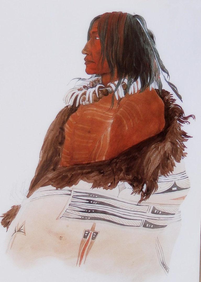 Bílá bizoní kráva, náčelník kmene Assiniboinů. Obraz od Karla Bodmera. Zahalen je do bizoního pláště typu Okraj a obdélník.