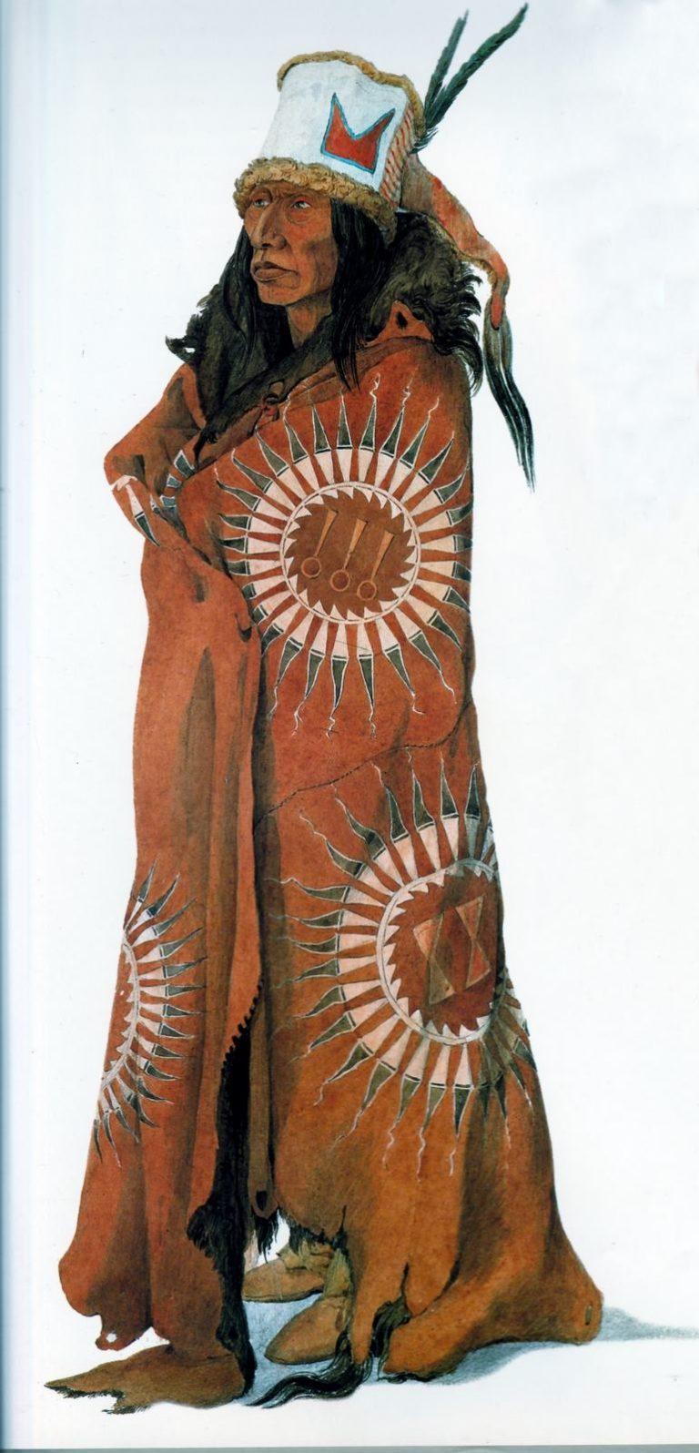 Birohka, jeden z předních mužů kmene Hidatsů na obraze Karla Bodmera. Je zabalen do bizoního pláště se symboly slunečních péřových čelenek.