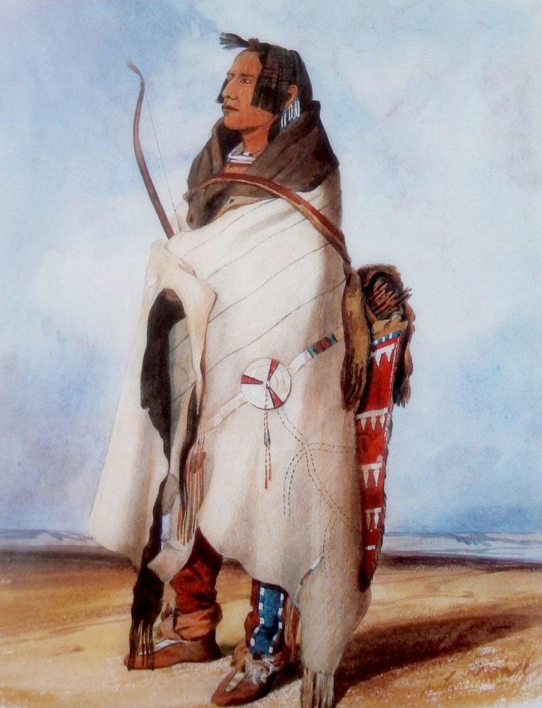 Válečník kmene Mandanů na obrazu Karla Bodmera. Přes ramena má přehozen bizoní plášť s pásem vyšitým ursoními ostny.