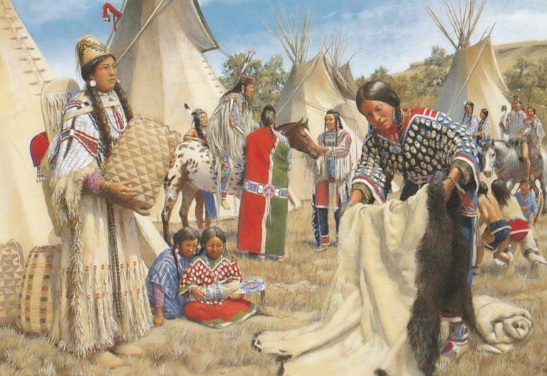 Obchod mezi indiány kmene Propíchnutých nosů a Vran. Vraní žena nabízí ženě z kmene Propíchnutých nosů bizoní plášť výměnou za jiné produkty. Na území Propíchnutých nosů nežilo mnoho bizonů, proto tento kmen často nakupoval bizoní pláště od přátelských Vran, které naopak žily v zemi hojné na bizony a jejichž pláště byly považovány za nejvyšší kvality. Obraz Bill Holm.