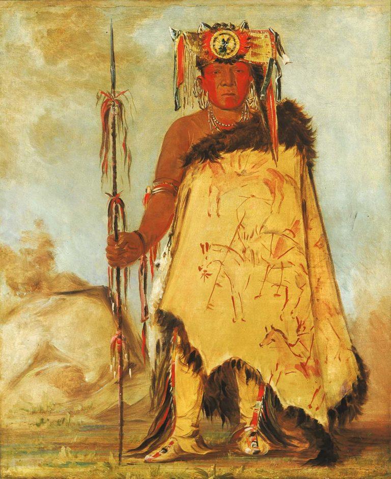 Válečný náčelník, pohlavár jedné ze skupin Pónyů na obraze Georgea Catlina z roku 1833. Přes rameno má přehozený bizoní plášť malovaný piktografickými výjevy svých válečnických úspěchů.