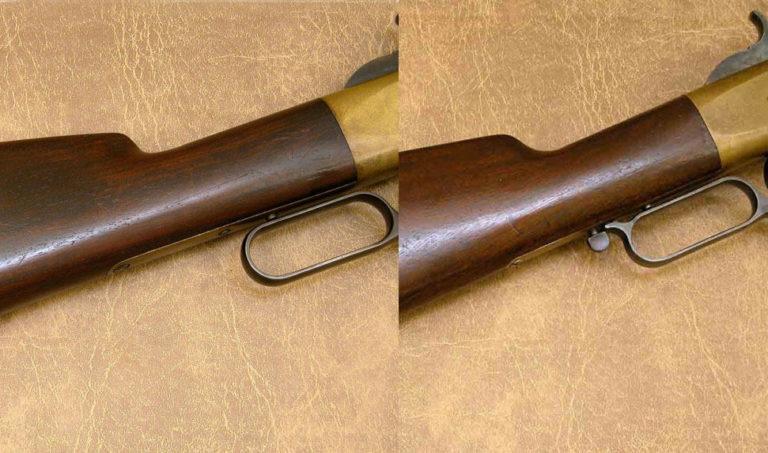 Puška vlevo je bez aretace nabíjecí páky, puška vpravo je již pozdější výroby a aretaci má.