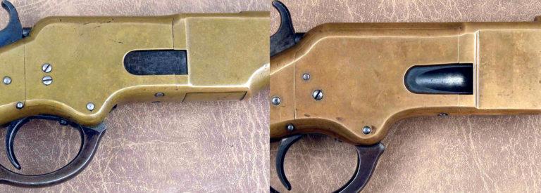 Nabíjecí klapka na pravé stráně pláště závěru byla novinkou oproti pušce Henry. Díky ní nebylo nutné pušku nabíjet zepředu. Z počátku výroby byl nabíjecí otvor chráněn rovným plíškem, v pozdější fázi výroby byl opatřen vybráním pro snadnější nabíjení.