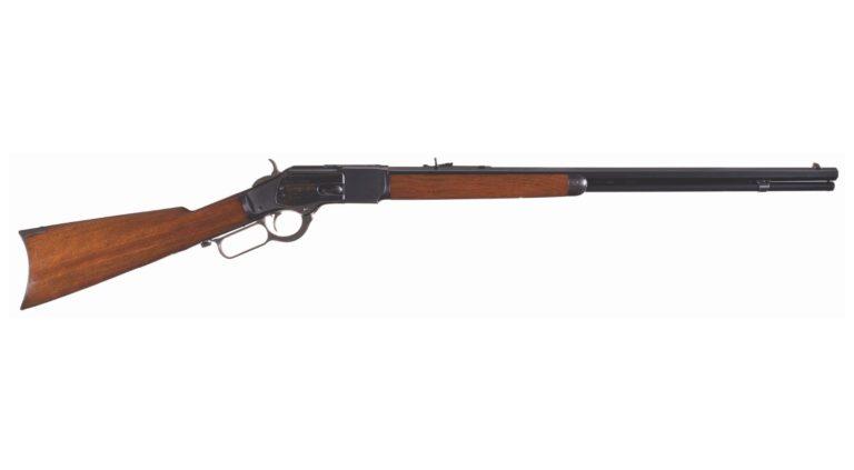 Winchester 1873 ve variantě sportovní puška s 24 palcovou oktagonální hlavní.