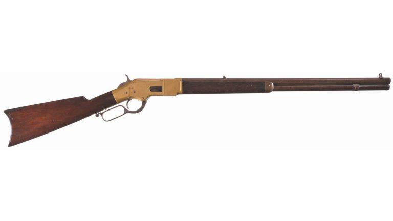 Winchster 1866 varianta Sporting rifle (sportovní puška) s 24 palcovou oktagonální hlavní. Zásobník pojmul 17 nábojů.