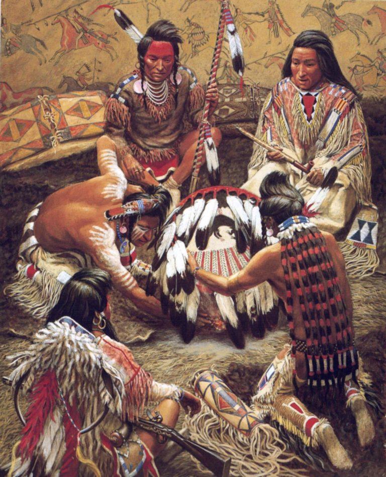 Interier kmene Vran na malbě Billa Holma.