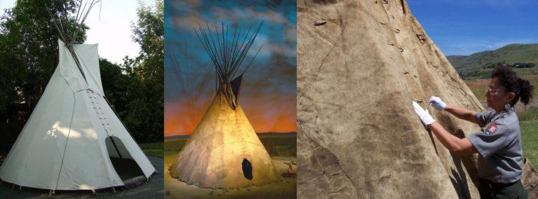 Rozdíl mezi současným komerčním látkovém týpí, které svítí novotou a vypadá sterilně (vlevo) a mezi originálním týpí z bizoních kůží (uprostřed). Vpravo je detail originálního týpí kmene Nez Perce z bizoních kůží. Týpí má silnou patinu a hnědou barvu. I látkové týpí se dá upravit tak, aby se blížilo vzhledu dobového bizoního týpí, pokud se nabarví vhodnou barvou a má vhodný střih a přizpůsobené detaily.
