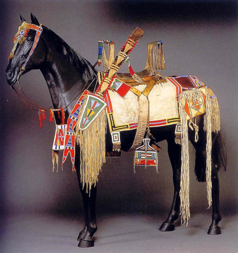 Plochá taška kmene Vran jako součást ozdoby koně.