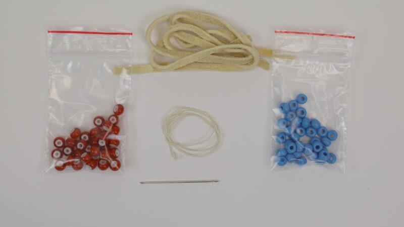 Náhrdelník indiánský jednořadý crow beads sada na výrobu