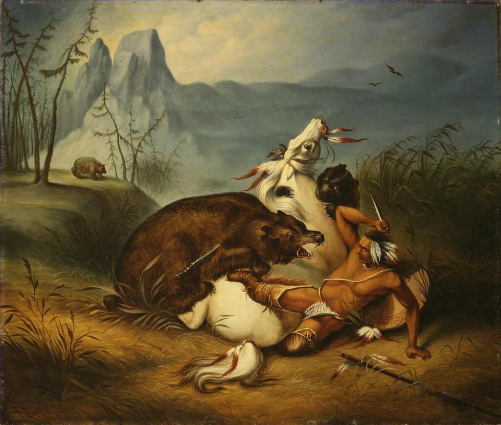 Indián kmene Póny napadený skupinou medvědů grizzly. Obraz Felixa Octavia Carra Darleye.