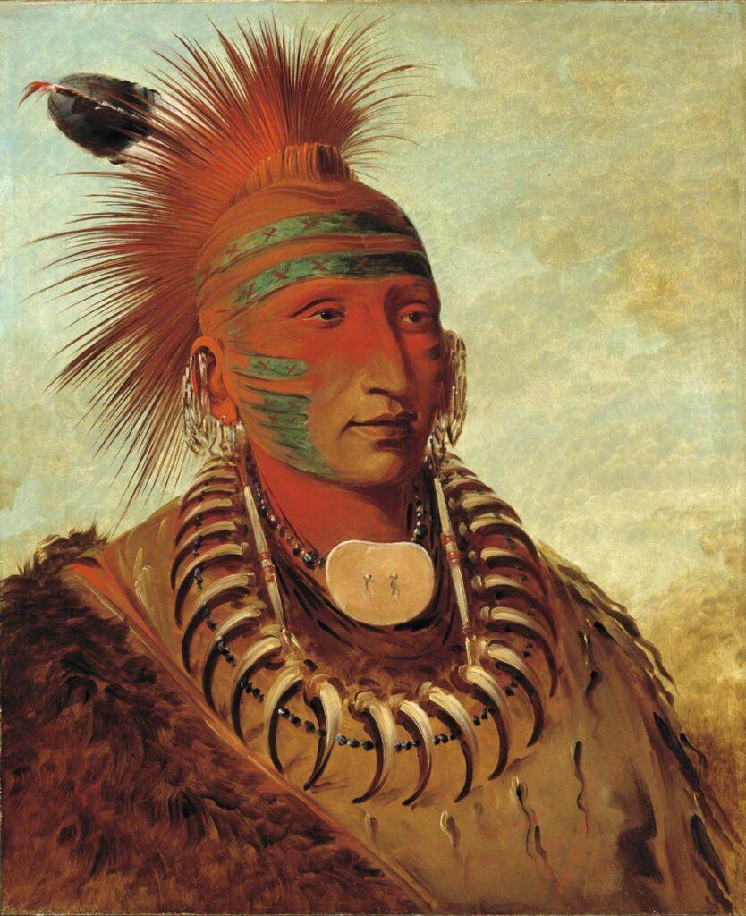 Ten který nedává pozor, Iowa na malbě George Catlina.