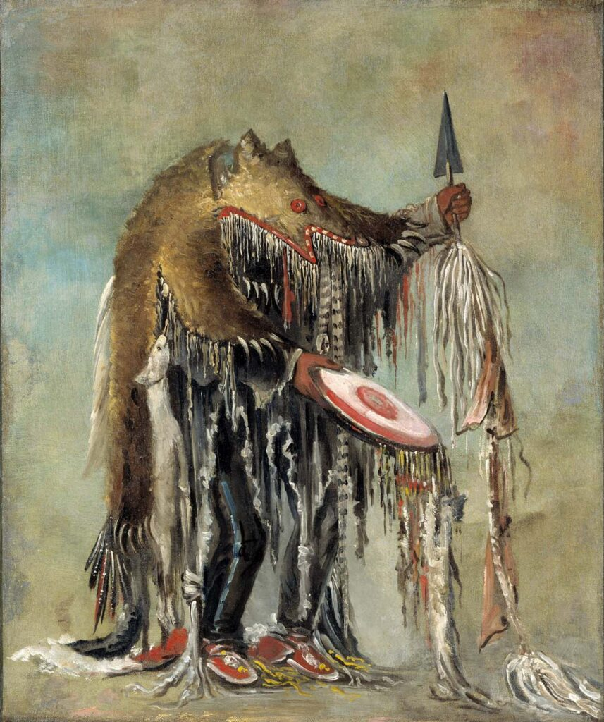 Medvědí šaman kresba George Catlin.