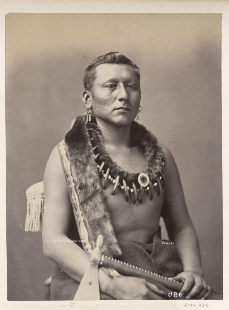 Černý pes s kmene Osedžů na fotografii z roku 1877.